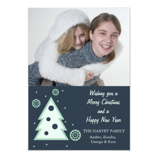 Blue Christmas tree n snowflakes holiday photocard Card