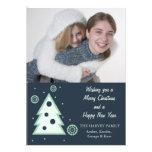 Blue Christmas tree n snowflakes holiday photocard Invitation