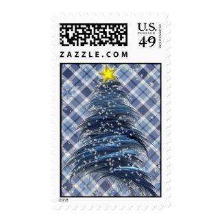 Blue Christmas Tree on Plaid Stamp