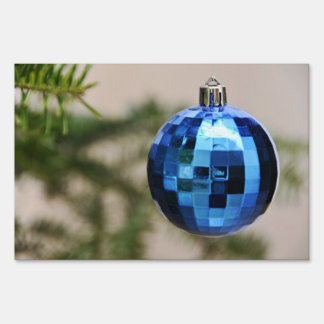 Blue christmas tree ornament lawn sign