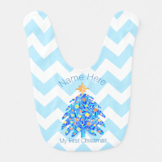 Blue Christmas Tree Personalized My 1st Christmas Baby Bib