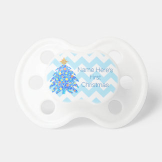 Blue Christmas Tree Personalized My 1st Christmas Pacifier