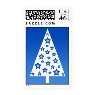 Blue christmas tree - Postage stamp