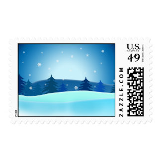Blue Christmas Tree Stamps