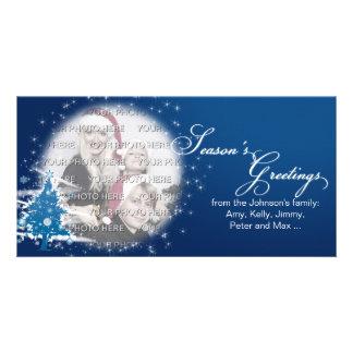 Blue Christmas Tree Season's Greetings Photo Card