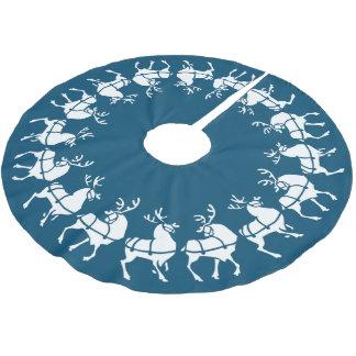 Blue Christmas Tree Skirt Holiday Reindeer Decor