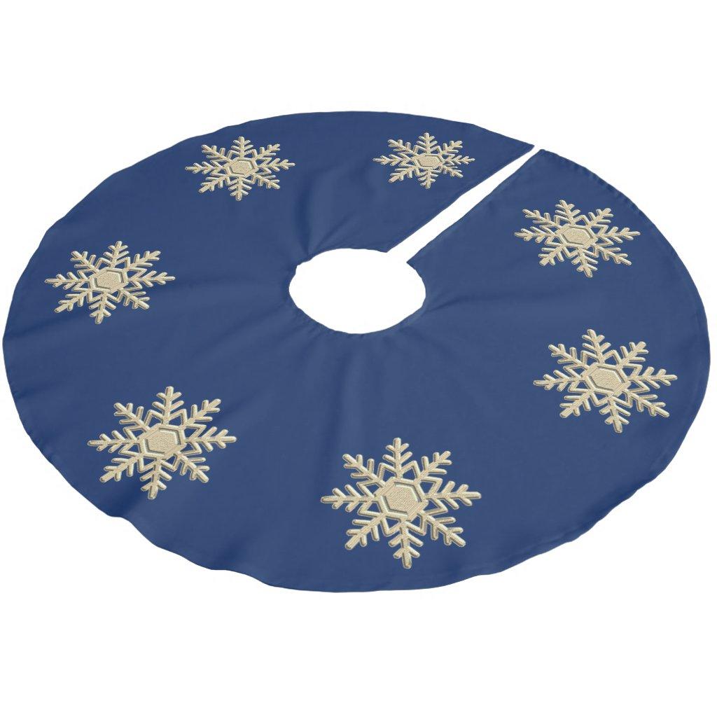 Blue Christmas Tree Skirt / Silver Snowflake
