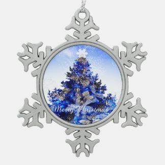 Blue Christmas tree Snowflake Pewter Christmas Ornament
