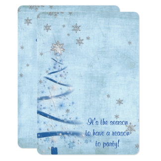 blue Christmas tree with silver snowflakes Card