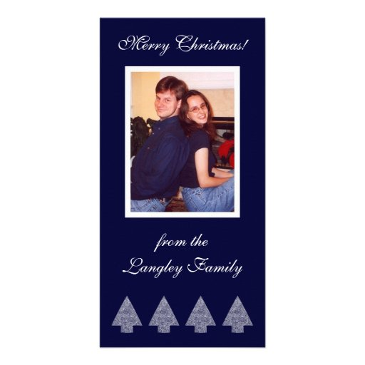 Blue Christmas Trees Photo Card