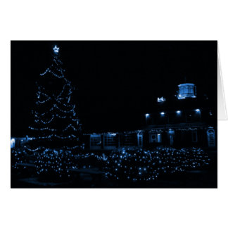 Blue Christmas Village Stationery Note Card