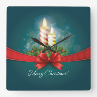 Blue Christmas Wall Clock with candles