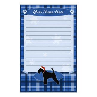 Blue Christmas Welsh Terrier Stationery