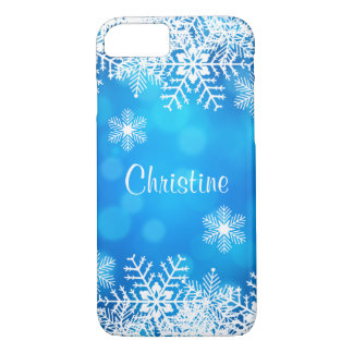 Blue Christmas White Snowflakes iPhone 7 Case