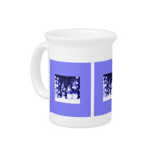 Blue Christmas Winter Snowman Family Drink Pitcher