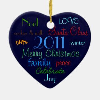 Blue Christmas Words Ornament