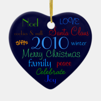 Blue Christmas Words Ornament