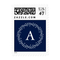 Blue Christmas Wreath Postage