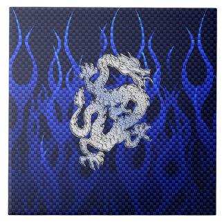 Blue Chrome like Dragon Carbon Fiber Style Ceramic Tile