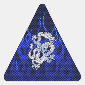 Blue Chrome like Dragon Carbon Fiber Style Triangle Sticker