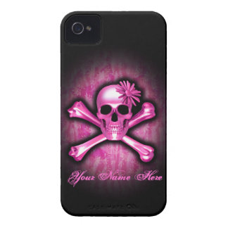 Blue Chrome Skull and Crossbones iPhone 4 Case