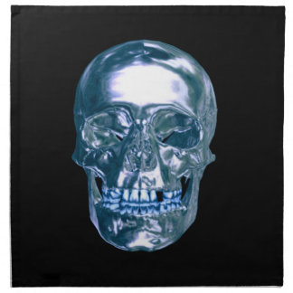 Blue Chrome Skull Napkins