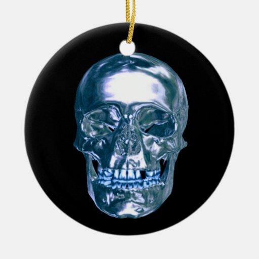 Blue Chrome Skull Ornament