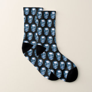 Blue Chrome Skull Socks