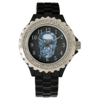 Blue Chrome Skull Watch