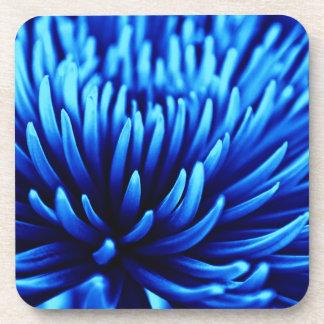 Blue Chrysanthemum flower coaster set