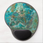 "Blue Chrysocolla Stone Image Gel Mouse Pad<br><div class=""desc"">Hard surface, oval mouse pad with gel pad wrist support to assist in your computer work and features an image of the beautiful, turquoise blue colors of Chrysocolla mineral stone. A great gift idea for the rock hound! To see other products we have to offer, click on the Northwestphotos store...</div>"
