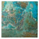 """Blue Chrysocolla Stone Image Tile<br><div class=""""desc"""">Ceramic tile that features the beautiful,  turquoise blue colors of Chrysocolla mineral stone. Select your size tile. Makes a great trivet for the kitchen. A great gift idea for the rock hound! To see other products we have to offer,  click on the Northwestphotos store link.</div>"""