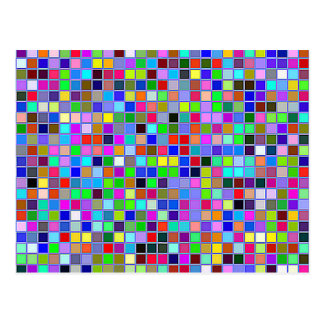 Blue Chunky Multicolored Square Tiles Pattern Postcard