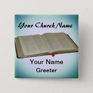 Blue Church Greeter Nametags with Bible Pinback Button