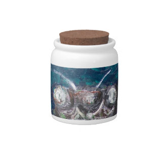 Blue Cicada (Surreal Realism insect painting) Candy Jars