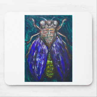 Blue Cicada (Surreal Realism insect painting) Mouse Pad