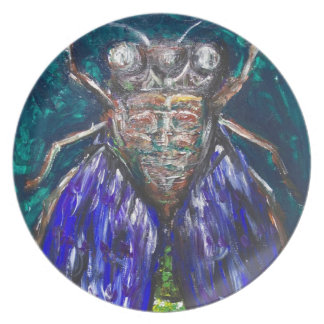 Blue Cicada (Surreal Realism insect painting) Party Plates