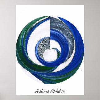 BLUE CIRcLE ABSTRACT, Halima Ahkdar Posters