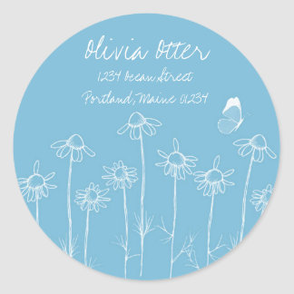 Blue Circle Address Sticker White Butterfly Floral