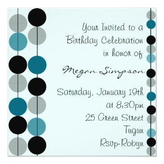 Blue Circle Design Birthday Invitation