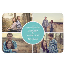 Blue Circle Design Photo Save The Date Magnet at Zazzle