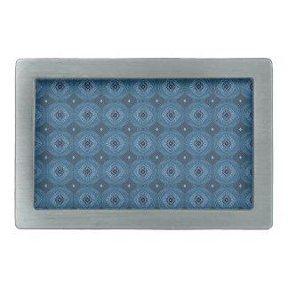 Blue Circle Diamond Grid Pattern Belt Buckle