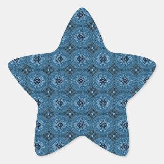 Blue Circle Diamond Grid Pattern Star Sticker