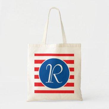USA Themed Blue Circle Monogram Tote Bag