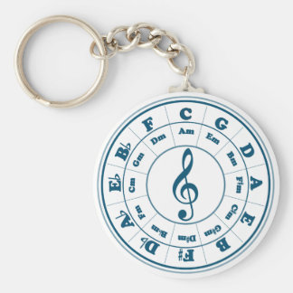 Blue Circle of Fifths Basic Round Button Keychain