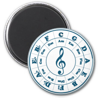 Blue Circle of Fifths 2 Inch Round Magnet