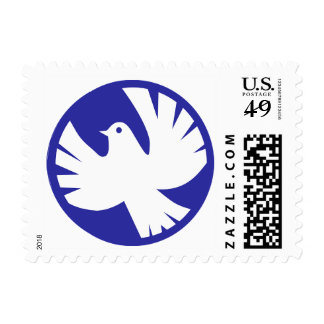 Blue Circle Peace Dove Serenity Stamp