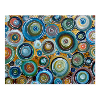 Blue Circles Abstract Art Postcard
