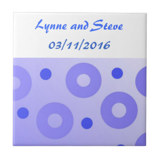 Blue Circles and Dots Save the Date Ceramic Tile