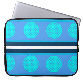 blue circles and lines laptop sleeve